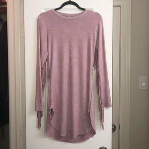 Super soft pink dress with fringe